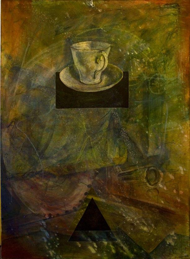 """""""Teacup"""", 2014, 38"""" x 51"""", mixed media (acrylic) on canvas. $1,250.00"""
