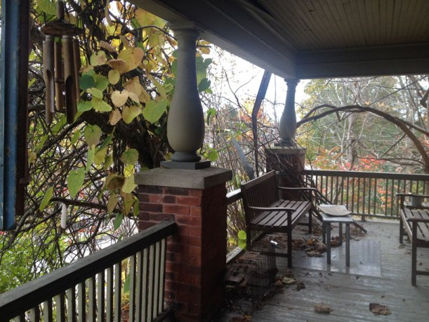 The beautiful front porch of the Peterborough house I stayed in