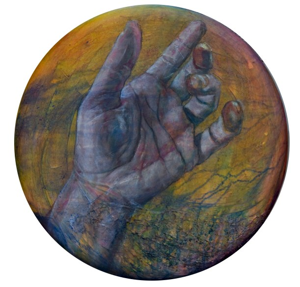 """Surrender"", 24 inch round, acrylic on canvas, $750."