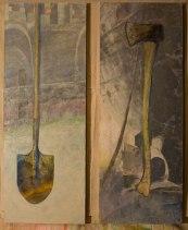 "diptych Shovel/Axe.  29""w x 78""h (x 2).  $1799. each; $3,600. as dyptich."