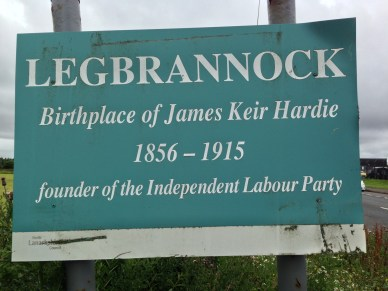 A sign marking Keir Hardie's Birthplace in Legbrannock