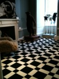 Black and white tile designed wool carpet