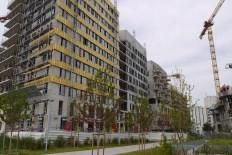 New apartment buildings around the park