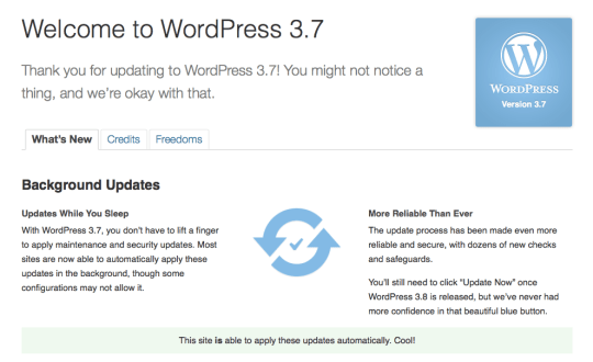 WordPress 3.7 Update Screen