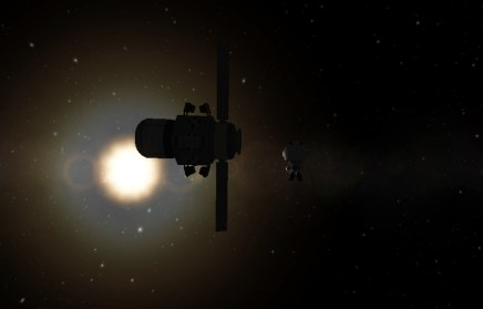 Alone. Sort of. There are 2 other kerbals about 30 meters away.