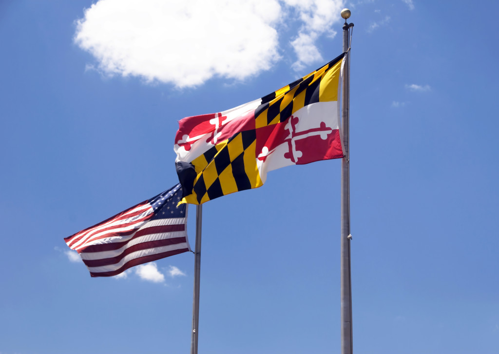 U.S. and Maryland flags flown together. Photo from the Maryland Secretary of State's office.