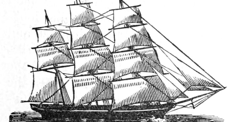 B&W drawing of 3-masted schooner