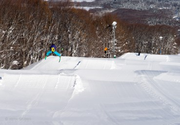 Fin and Cam Melville-Ives on the mini line in Aomori Spring