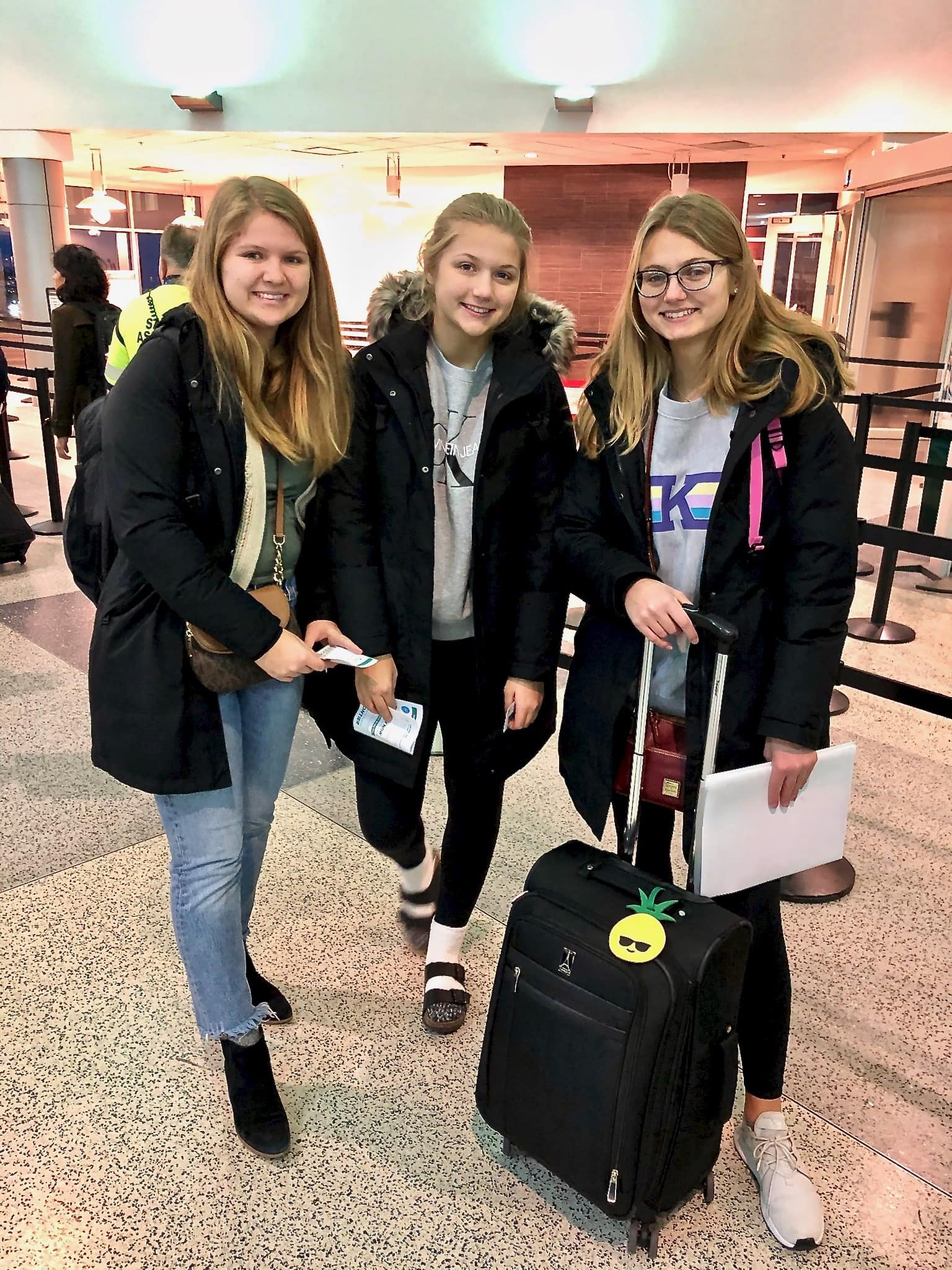 Cara, Cayla and Chelsea at the airport