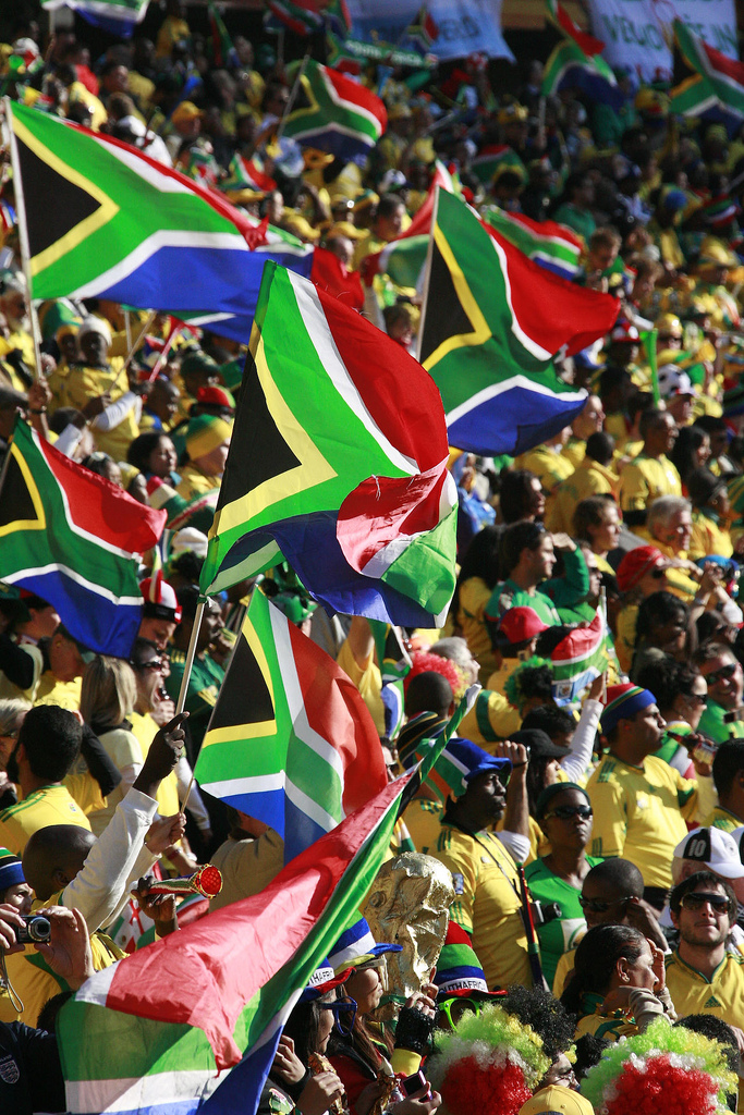 A picture of South African football supporters.