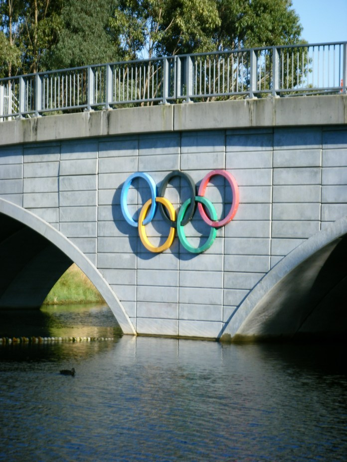 A picture of the Olympic Rings on the bridge at the Sydney Regatta Centre, Penrith, Australia.