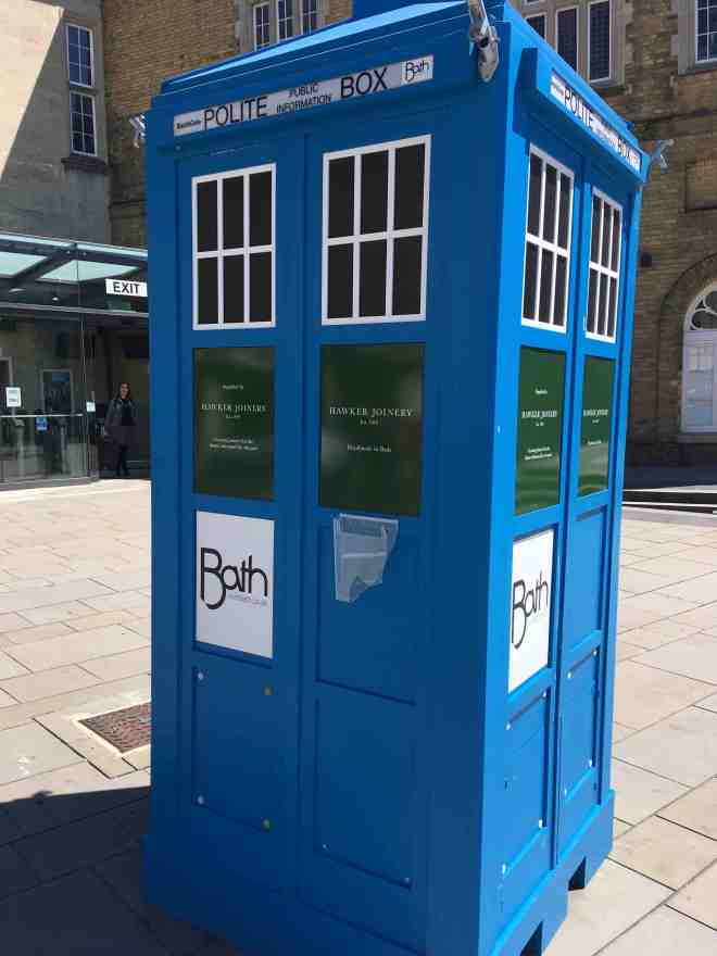 A picture of a Tardis-like phone box in Bath, England