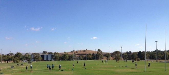 A picture of rugby players in a pre-season training session in Canberra