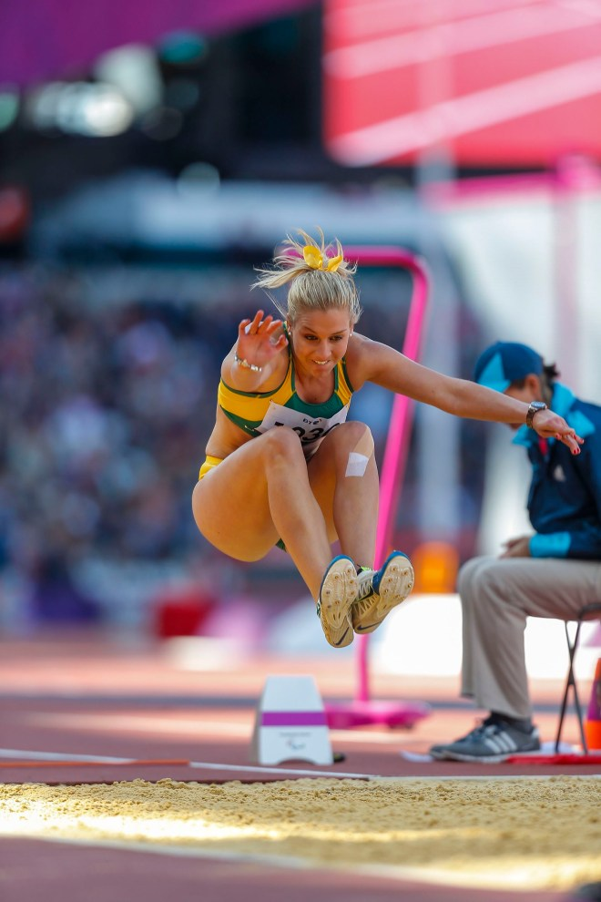 Photograph of Australian Paralympic team member Katy Parish in the long jump at the 2012 Summer Paralympic Games in London