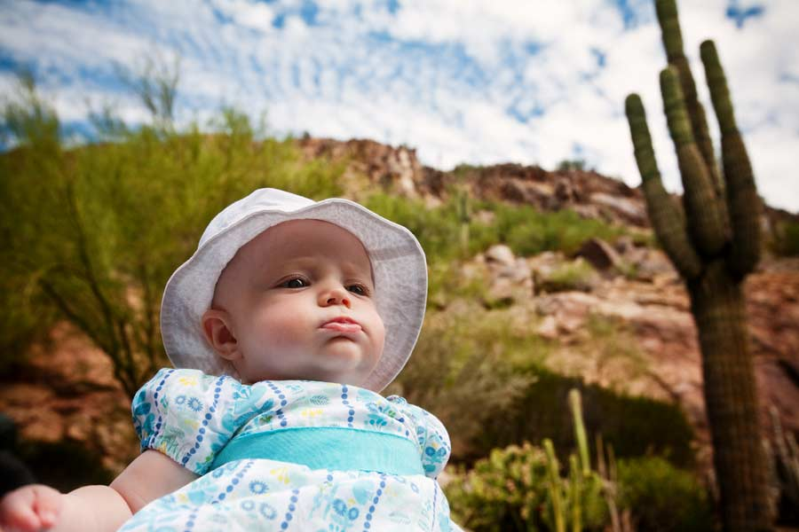 baby girl and the cactus
