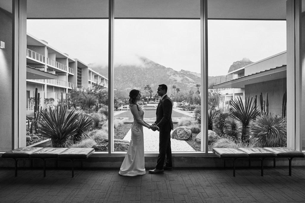Wedding couple on a rainy day
