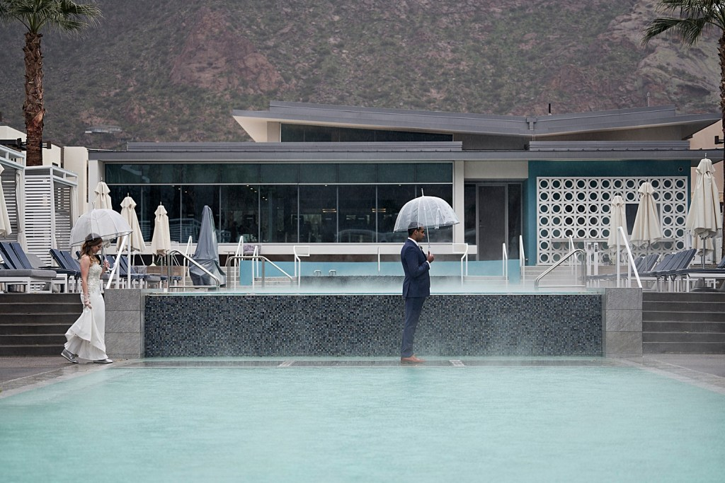 first look by a swimming pool at mountain shadows