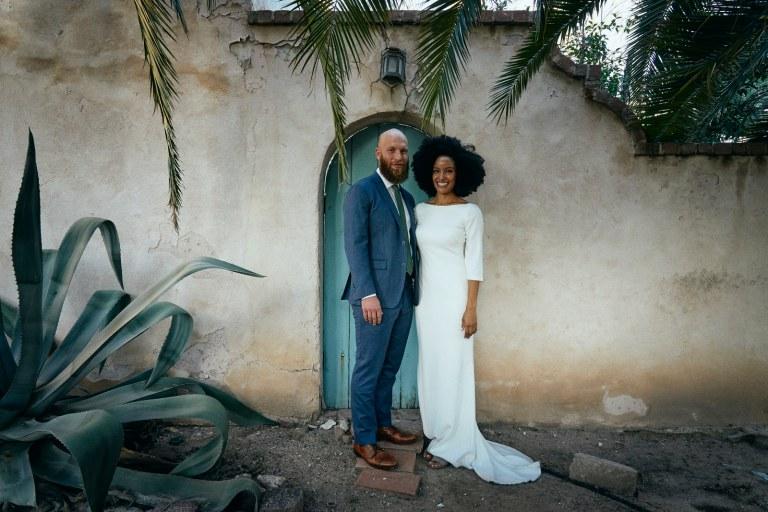 bride and groom tucson blue door