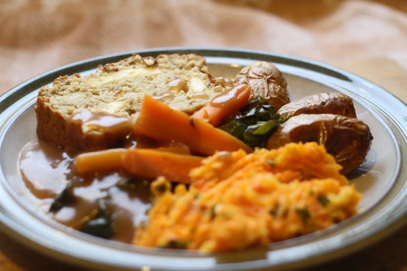 Vegetarian Christmas Dinner.Festive Cashew Paneer Loaf