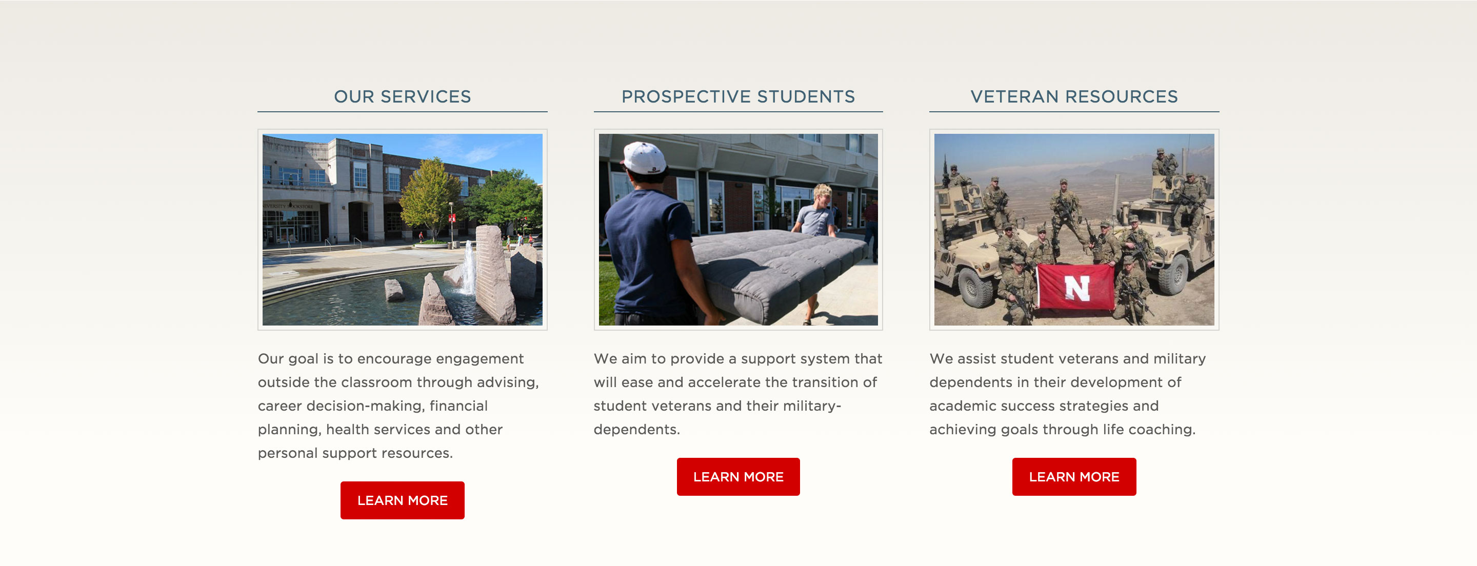 Footer area of the Military & Veteran Success Center home page