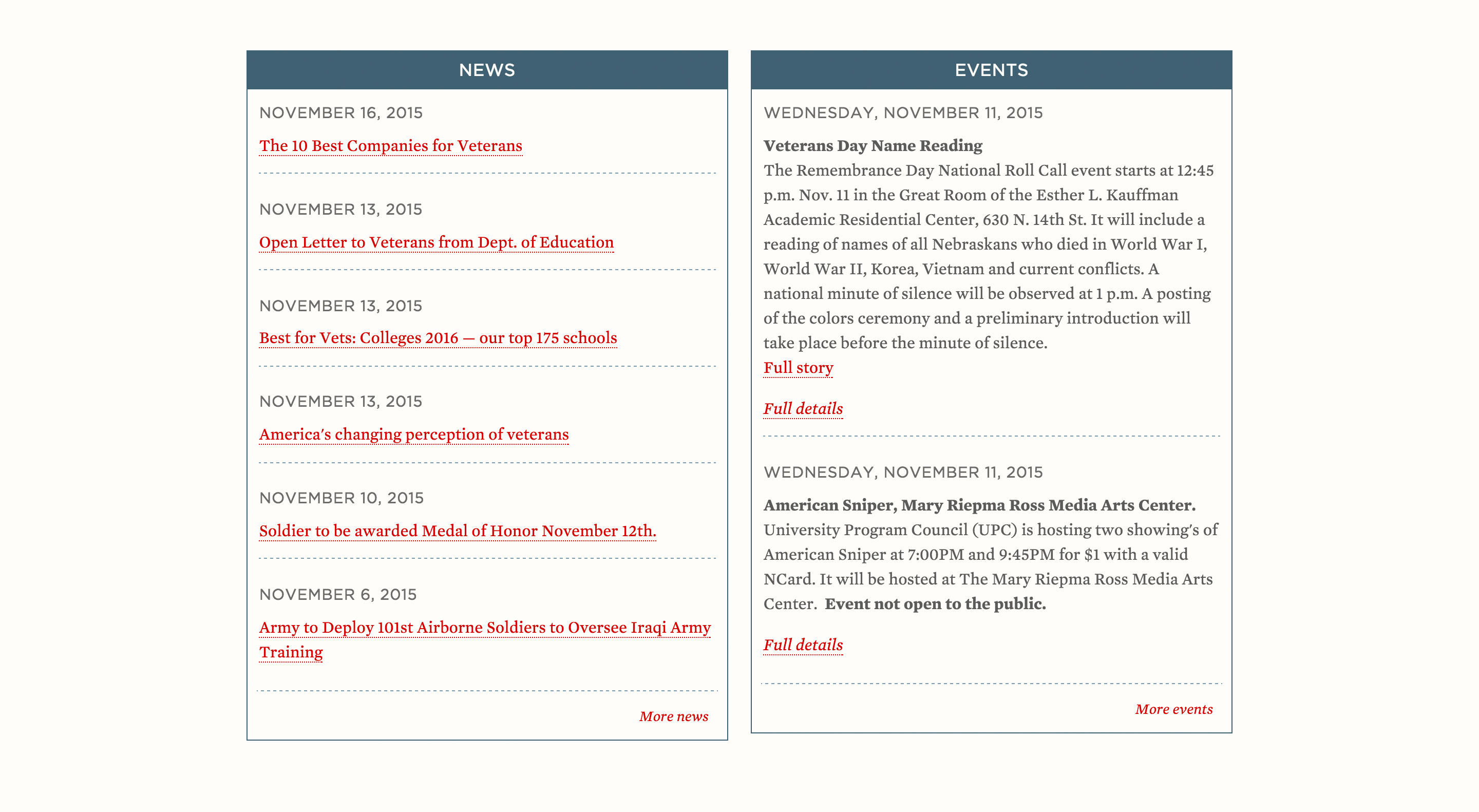 News and Events section of the Military & Veteran Success Center home page