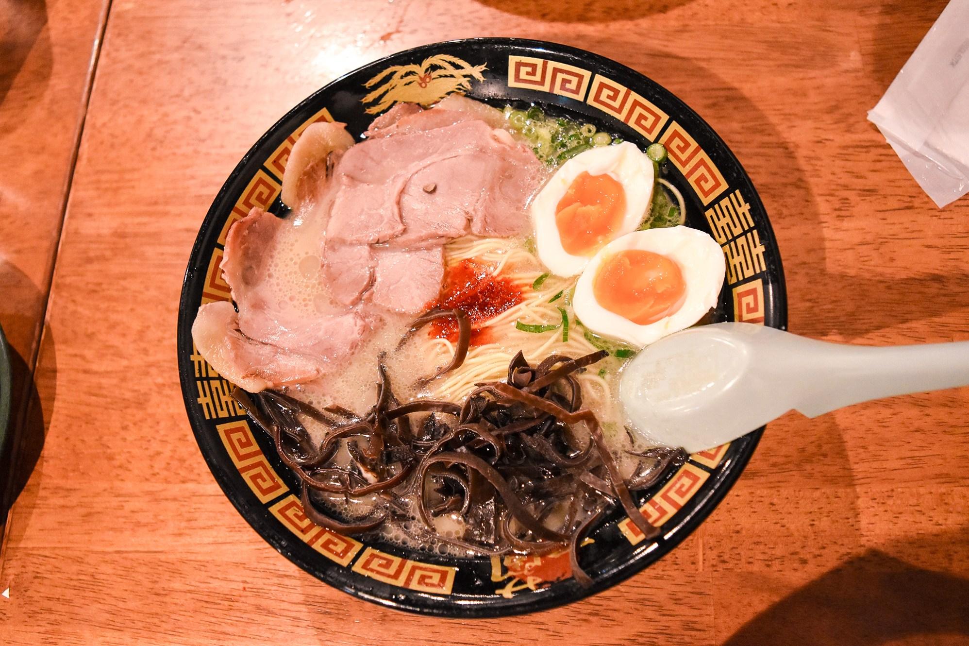 Tonkotsu ramen is the best ramen. Ichiran in Dotonbori, Osaka