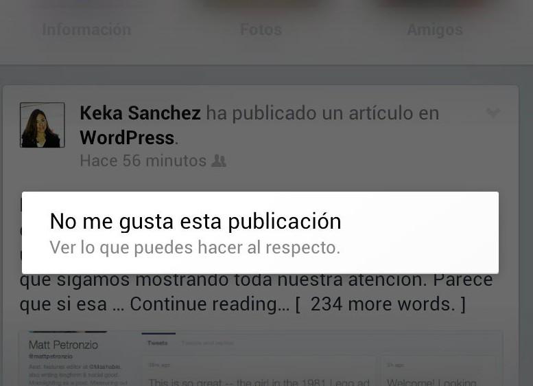 """No me gusta"" Facebook"