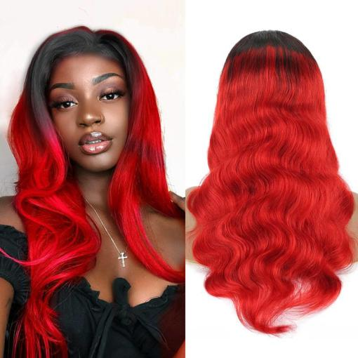 Beautiful Human Hair Wig, Lace Front Color Red