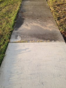 Front sidewalk. No one walk on it!