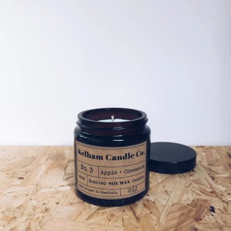 Apple and Cinnamon scented soy wax candle jar with Kelham Candle Co hand made in Sheffield label