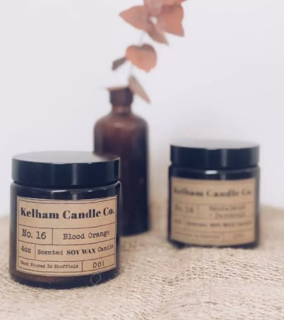 Blood Orange scented soy wax candle jar with Kelham Candle Co hand made in Sheffield label
