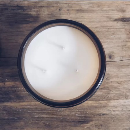 Scented soy wax candle jar with Kelham Candle Co hand made in Sheffield label