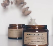 Large Wild Berry scented soy wax candle jar with Kelham Candle Co hand made in Sheffield label