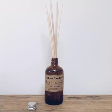 Grapefruit scented reed diffuser with Kelham Candle Co hand made in Sheffield label