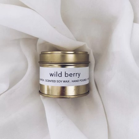Wild Berry scented soy wax candle tin with Kelham Candle Co hand made in Sheffield label