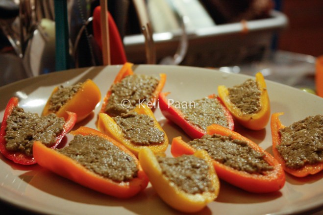 Peppers filled with the paste ready to be baked