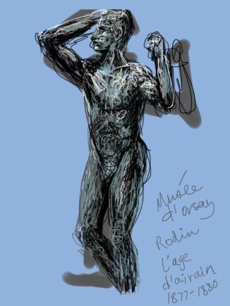 Kelise Franclemont, study of Rodin's 'l'age d'airain', 2013, digital media (Brushes), in Musee d'Orsay.