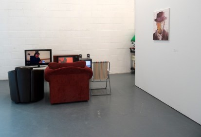 (l-r) Matthew Robert Edwards, 'How X Saw Y', 2014, and Armando Mesias, 'Breaking Bad', 2014, in 'Assembly' at Chelsea College of Arts, London.