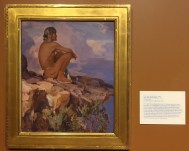 """Carl Oscar Borg, 'Into the great silence', 1922, oil on board, at Booth Western Art Museum, Cartersville, GA. Photo credit Kelise Franclemont. The card reads: 'Soon after Borg emigrated from to the US from his native Sweden, he worked as a scene painter for silent movies in Hollywood. His dream to paint the Native American West was made possible by the support of three influential Californians...Borg traveled to the Western outback with artist Edward Borein in hopes of capturing subject matter from a civilisation he believed to be on the edge of extinction. He so loved the Grand Canyon as an uncorrupted relic from antiquity, that he willed his ashes would be scattered into its """"great silence"""".'"""