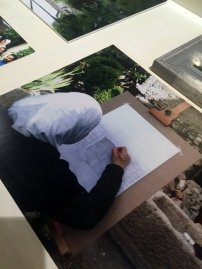 Mohamed Aloosh, drawings and photographs from his art workshops in Lebanon, in 'Create Syria - the future constellation', at House of Vans London, Waterloo. Photo credit: Kelise Franclemont.