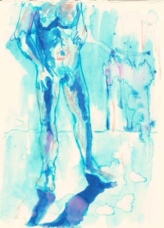 Standing nude (torso and legs), 2016, ink on paper, 5 x 7 inches.