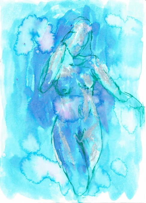 Posing nude (female 4), 2016, ink on paper, 5 x 7 inches. SOLD.