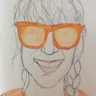 11 April 2017 #TravelTuesday A cloudy day is no match for a sunny disposition.-William Arthur Ward #365LoveNotesToSelf Day 57, biro and coloured pencil on paper (orange)