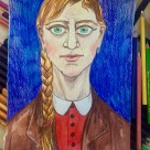Me as LS Lowry 1938 #365LoveNotesToSelf Day 117, ink and Prismacolour pencil