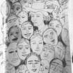 Me as James Ensor 1899 #365LoveNotesToSelf Day 120, ink (the many masks we wear)