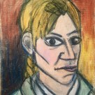 Me as Pablo Picasso 1907 (with alien eyes) #365LoveNotesToSelf Day 130, oil crayon on canvas