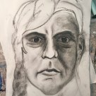 Me as poet Khalil Gibran 1920s #365LoveNotesToSelf Day 145 willow charcoal