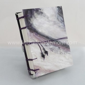 handsewn journal, exposed stitched binding, abstract, dark, purples, greys; purple cord closure with beads