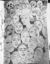 Me as James Ensor 1899 #365LoveNotesToSelf Day 120, ink (the many masks we wear)