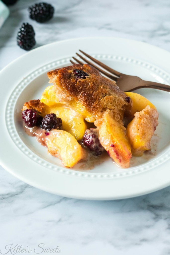 Peach and Blackberry Cobbler Recipe | This Peach and Blackberry Cobbler recipe is fantastic. I added a touch of cinnamon and brown sugar and it just took it over the top! | https://butterysweet.com/blog/peach-and-blackberry-cobbler-recipe